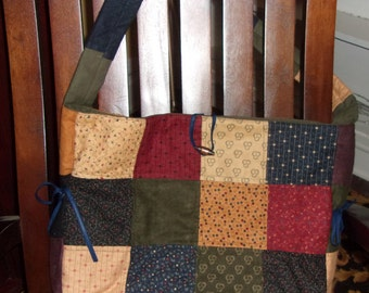 Patchwork Flannel and Suede Tote Bag