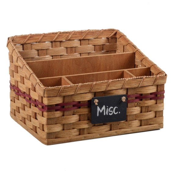 Woven Basket Building : Custom large compartment organizer basket amish hand woven