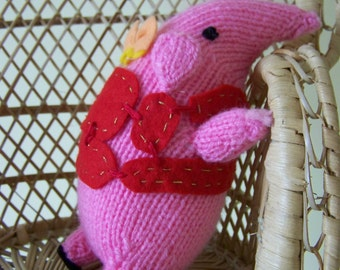 Hand knitted Tiny Clangers 17 cm stuffed toy amigurumi type Christmas gift, Birthday present, Christening gift, collectors