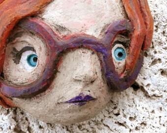 Terracotta sculpture-terracotta poster-terracotta figurines-figurines-handmade terracotta clay sculpture-girl-eyewear-art