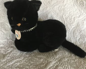 Vintage Black Cat Stuffed Animal by Gund 1982 - Webster - Checkered Ribbon - Original Tag - Mint Condition