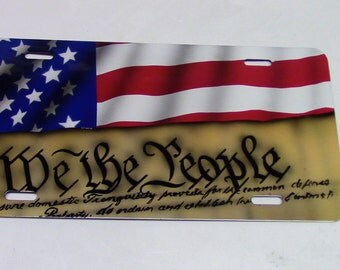 We The People airbrushed License Plate