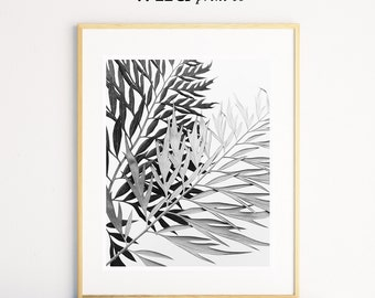 Leaf Wall Art Print, Black and White Wall Art, Printable Poster, Leaf Decor, Contemporary Modern Decor