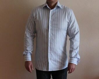 Mens Shirt pale Blue Striped Shirt Cotton Men's Button up Shirt Long Sleeve Shirt Dress up Shirt French Cuff Shirt Large Size
