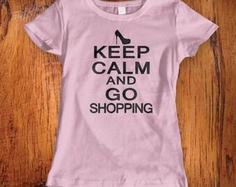 Women's Tshirt Shopping Shirt Keep Calm and Shop On fashionista shirt shirt for shopping girly shirt fashion shirt  womens shirt