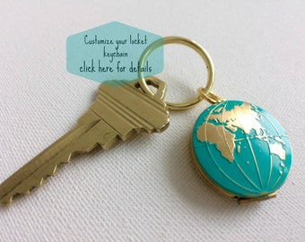 World Globe Locket, World Locket Keychain, Earth, Globe Keychain, Fathers Day Gifts, Traveller's Locket, Hand Painted Keychain, Globe Locket