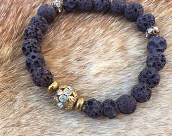 Brown lava stone bead bracelet gold accent