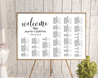 Wedding alphabetical seating chart template, printable seating chart, alphabetical seating chart, editable seating plan, seating sign