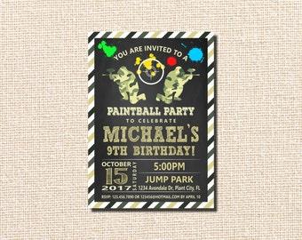 Paintball Invitation, Paintball Party Invitation, Paintball Birthday Party Invitation, Paintball,  10th  BIRTHDAY, Paintball Birthday