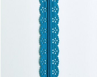 "Turquoise Lace Zipper - Turquoise Zippers - Lace Zippers - 8"" Zipper - Sewing Zipper - Bag Zippers - Purse Zippers - Sewing Notions - Zipper"
