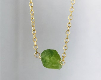 Tiny Peridot Necklace Raw Peridot Necklace Peridot Necklace Layering Necklace August Birthstone August Birthday Minimalist Necklace