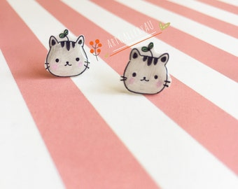 Kawaii Cat Earrings, Cute Kitty Clip On and Stud Earrings, Kitten Studs, Handmade Animal Earrings, Gift for Her
