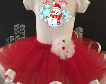 Christmas Snowman let it snow Tutu, Infant, Toddler, Red and White, for Holiday, Dress Up, Pageant, Dance, events,   Onesie or Toddler Shirt