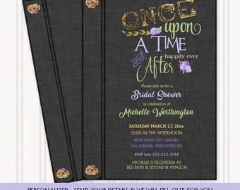 Once Upon a Time Happily Ever After Fairy Tale Story Book Invitation | Graphite Grey Gold Lavender & Green | Personalized Digital Invitation