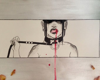 Original Watercolour and Ink Painting | BDSM Girl with Collar | On Sale!
