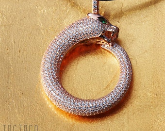 Ouroboros pendant | 925 Sterling Silver | Night Out Collection | Cubic Zirconia | Free Gift Box | Free delivery Australia and New Zealand