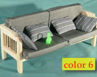SOFA Couch Dolls House Wooden Furniture 16 Scale 12 Barbie Living Room