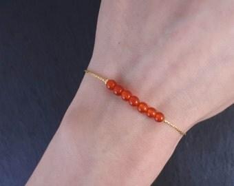 Carnelian Bracelet, Gemstone Bracelet, Carnelian Jewelry, Gemstone Jewelry, Thin Gemstone Bracelet, Gold Gemstone Bracelet