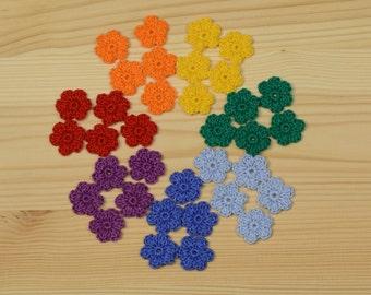 Crochet Flowers, Crochet applique, 35 pcs small flowers, cotton flowers, applique flower, scrapbooking, flower embellishment.