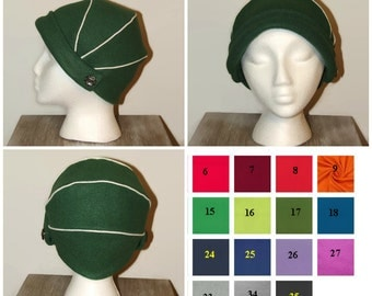 Retro Inspired Hat, 1930s Style Hat, Womens Green Hat, Vintage style hat, fleece hat, women winter hat, retro hat, modern vintage hat