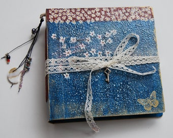 Butterfly, Blank sketchbook, one of a kind book, artist book, white notebook, Colour Sketchbook. 15x15 cm.