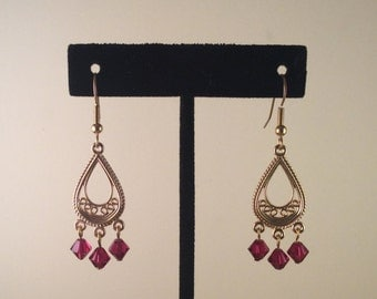 Ruby Red Crystal Chandelier Earrings