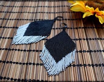 Black Fringe earrings,Beaded fringe earrings,Big fringe,Long fringe earrings,seed bead earrings,Black earrings,Grey earrings,Nickel free,