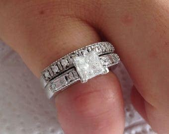 Certified 2.15 CT Princess cut Diamond engagement Ring 14k white gold  hand made