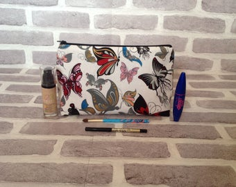 Large butterfly makeup bag, butterfly wash bag, insect, butterflies, tattoo style, Mother's Day gift, birthday gift, gift for her