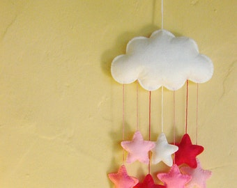 White felt cloud nursery mobile with a cascade of pink stars    can be personalised
