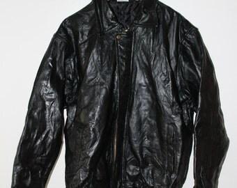 Patched Leather Vintage black jacket size XL