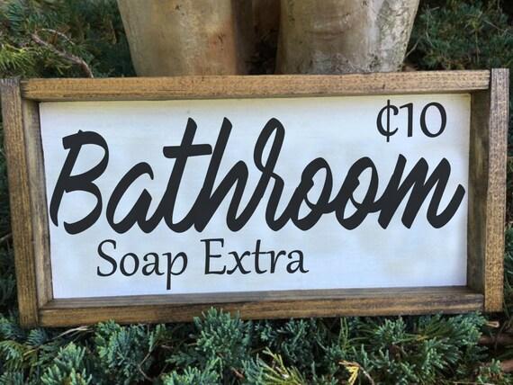 Bathroom Sign, Wood Frame Sign, Custom Home Decor, Farmhouse Style Decor, Rustic Decor