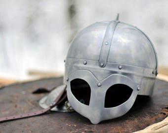 Gjermundbu Steel Helmet ( LARP - SCA - Armor - Viking - Medieval)