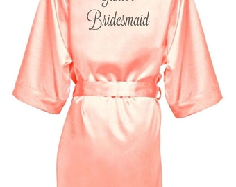 Bridesmaid Robe, Bridal Party Robe, Custom Embroidered Peach Satin Robe, Wedding Party Robe, Kimono Robe, Bridesmaid Gifts, EPIC SALE