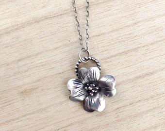 Sterling silver dogwood flower pendant -