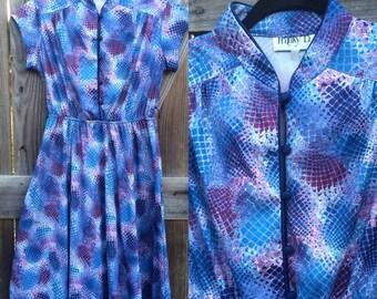 Vintage 1970s Purple Patterned Dress, Stretchy Polyester, Size 10-14