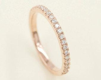 2mm half eternity diamond wedding band14k solid whiteyellowrose gold diamond - Rose Gold Diamond Wedding Ring