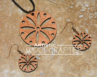 Wooden Geometric Necklace and Earring set (Cherry)