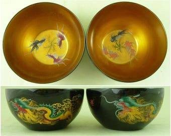 Vintage Japanese Lacquer Wood Hand Painted Rice Soup Bowls Dragon Gold Fish