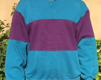 Beautiful vintage turquoise and violet rugby-style jumper sweater