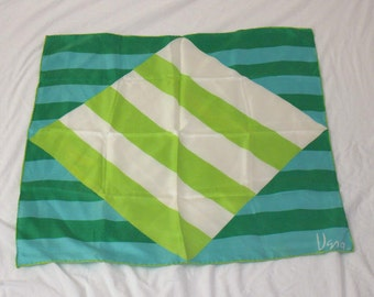 Vintage Vera silk scarf, Mother's Day gift, summer weight nautical scarf, preppy scarf with green, blue, and white stripes