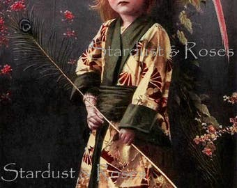 ANTIQUE Photo DOWNLOAD Beautiful Girl Kimono - Instant Digital Vintage Colored Photograph - Junk Journal Child Altered Art to Frame no1640