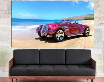 large red and black sports car canvas print home art wall decor gifts for him
