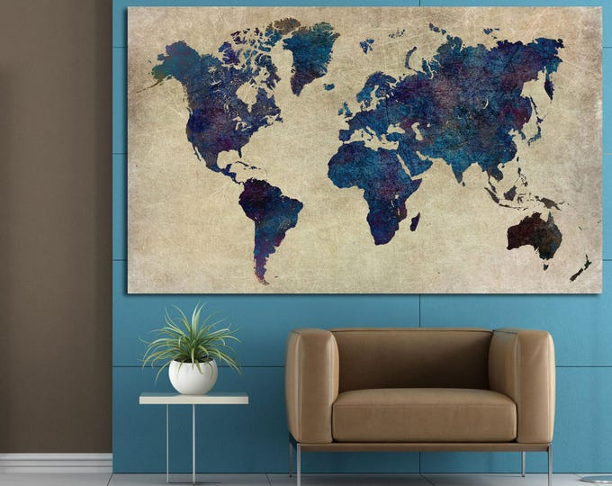 Large abstract blue watercolor world map canvas print set home and office decor, modern art world map wall art on canvas, world map abstract