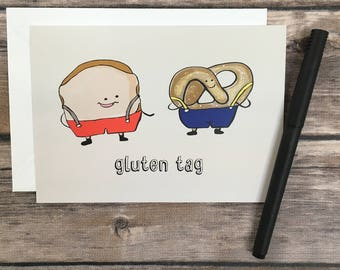 funny gluten card - guten tag card - german pun card- funny bread Card - foodie Card - joke card - funny bday card - just because card -joke