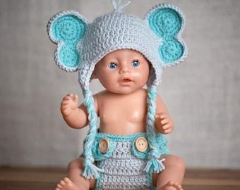 Elephant hat and diaper cover set - Newborn photo prop set- Crochet Elephant hat