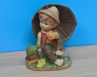 Hummel Like Figurine Boy with Turtle