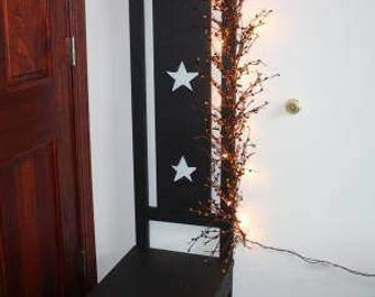 Tall Primitive Wood Chair ~ Star Cutout ~ Pip Berries ~ Lights
