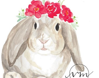 Watercolour Bunny with Peony Crown
