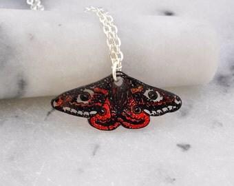 Emperor Moth Necklace- Emperor Moth Pendant- Moth Jewellery- Moth Jewelry- Insect Jewellery- Insect Jewelry- Shrink Plastic- Handmade- N107